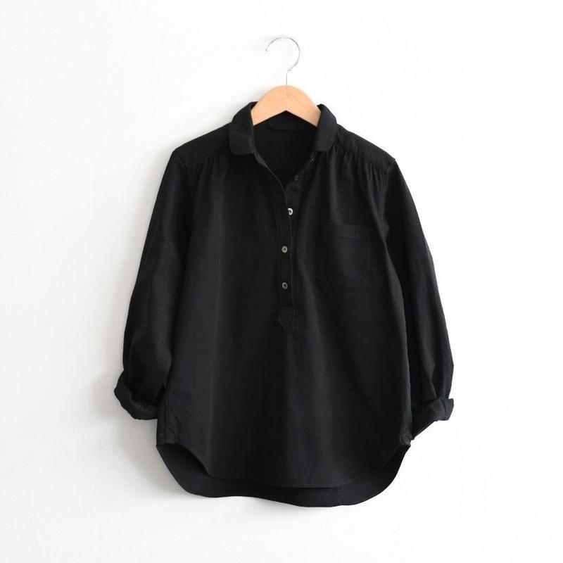 コットンツイル プルオーバーシャツ (ブラック)