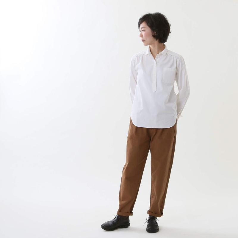 コットンツイル プルオーバーシャツ (ホワイト)