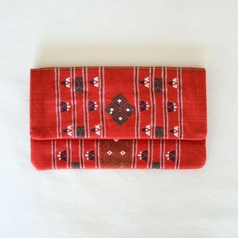 ミャンマー・チン族  手織り布クラッチバッグ(a)