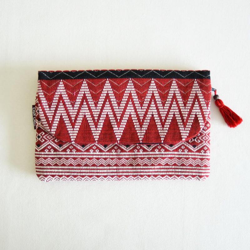 ミャンマー・チン族  手織り布クラッチバッグ(c)