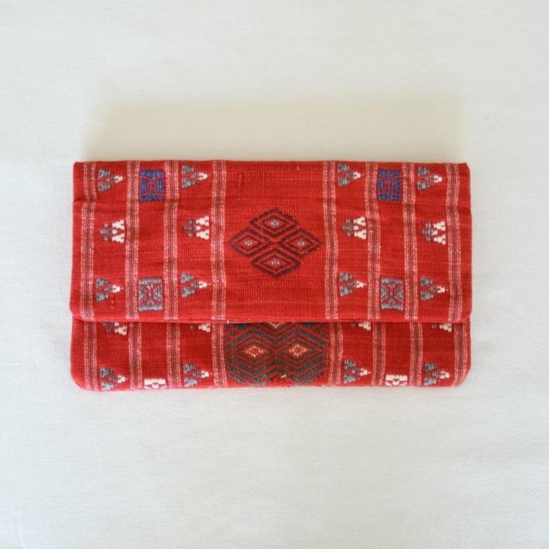 ミャンマー・チン族  手織り布クラッチバッグ(b)
