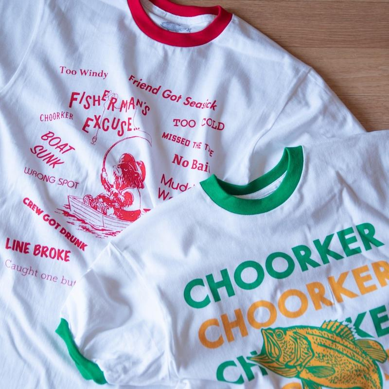 "RINGER TEE ""CHETEK"" and ""Fishermans Excuse"""