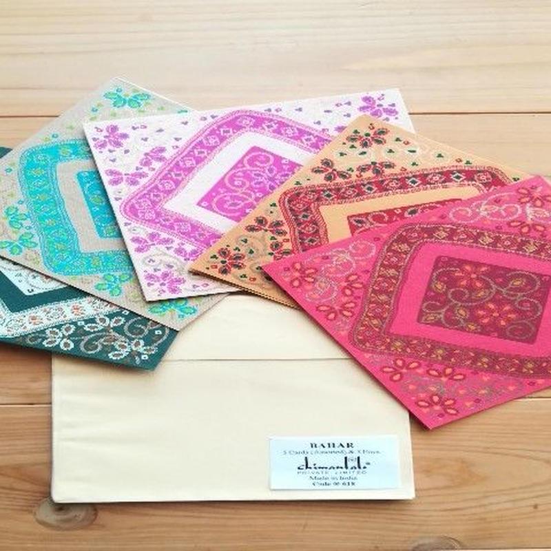 正方形カード&封筒 5枚組   BAHAR