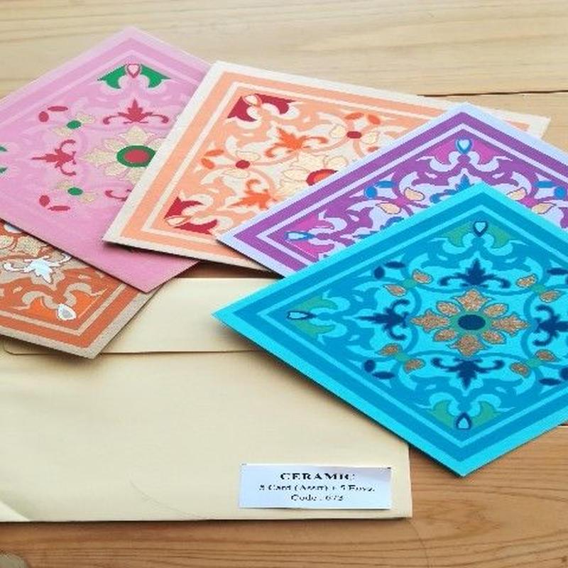 正方形カード&封筒 5枚組   CERAMIC