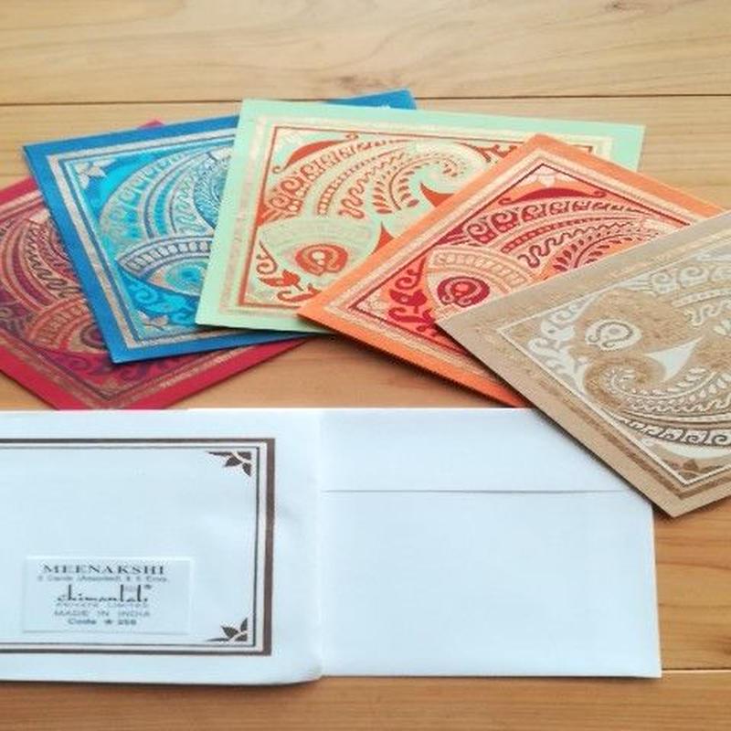 正方形カード&封筒 5枚組   MEENAKSHI