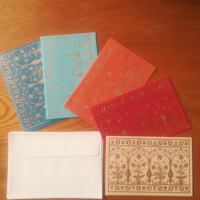 長方形カード&封筒 5枚組 【金エンボスの花】