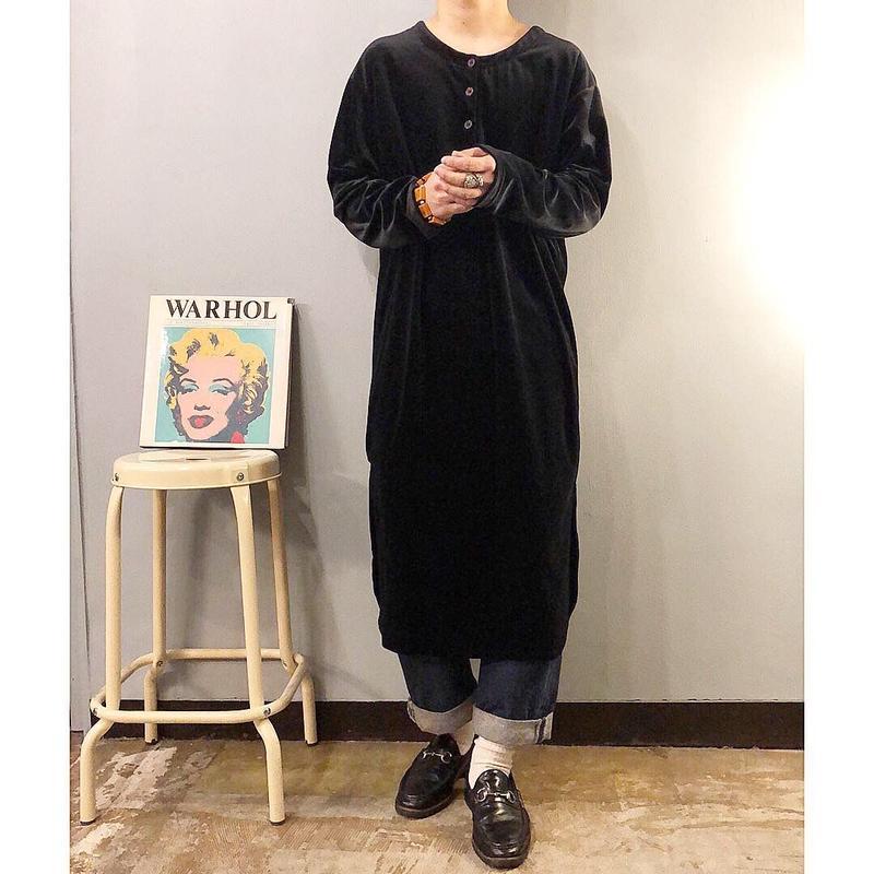 1990's~ ヘンリーネック ベロア ロングシャツ / 古着 ビンテージ