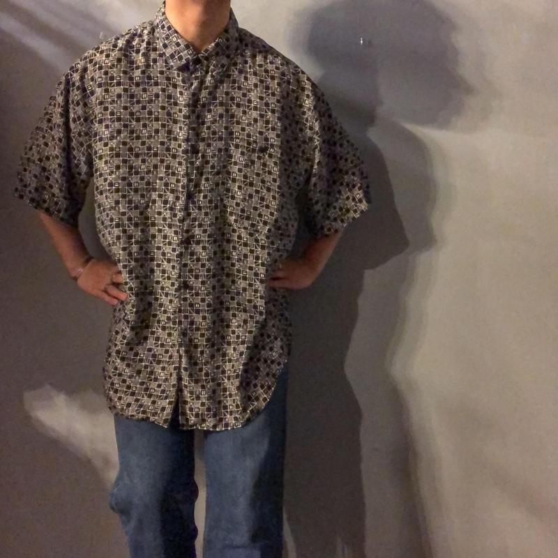 1990's~ ビッグサイズ 総柄 半袖 シルクシャツ / 古着 ビンテージ