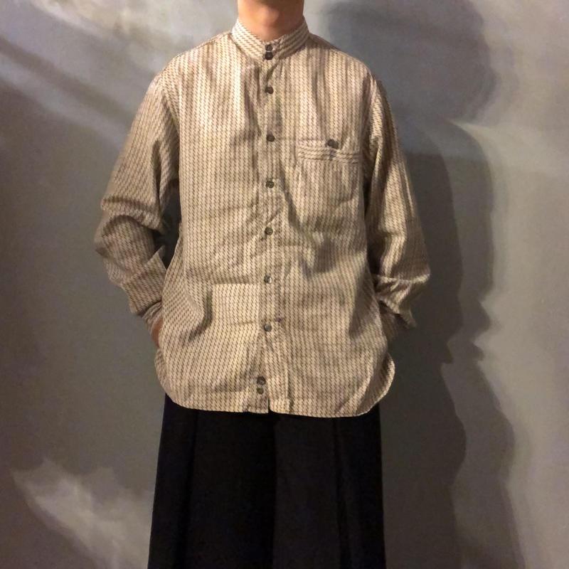 イタリア製 1980's~ 刺繍 デザイン バンドカラーシャツ / 古着 ビンテージ