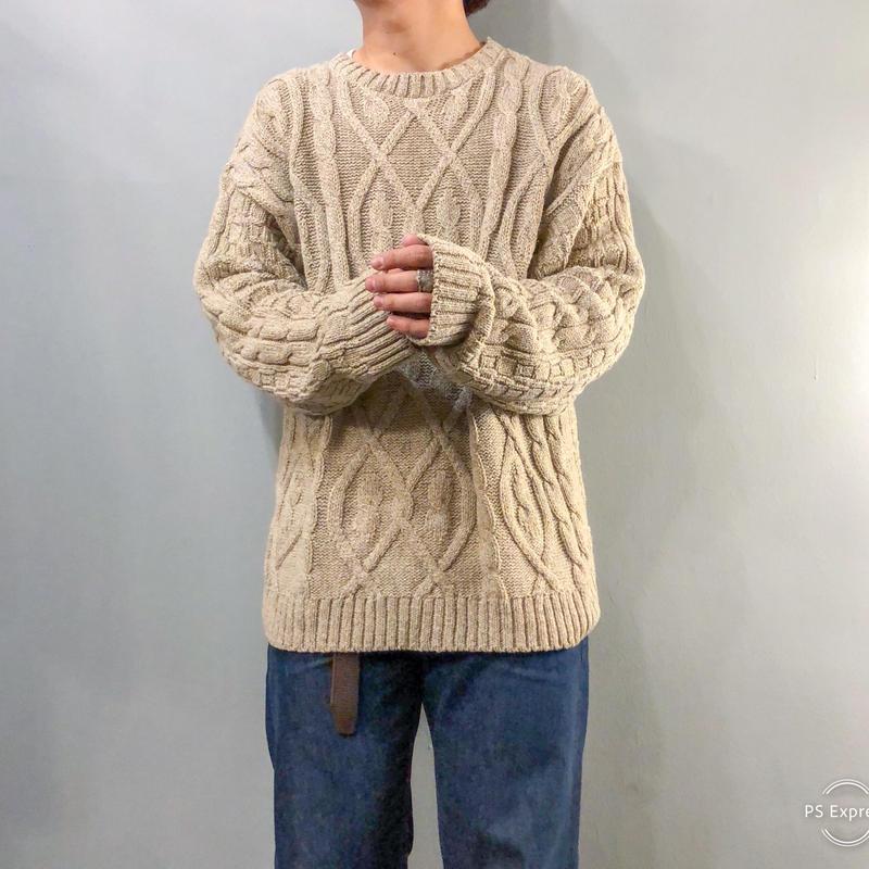 1990's~ USA製 ベージュ ケーブル編み セーター