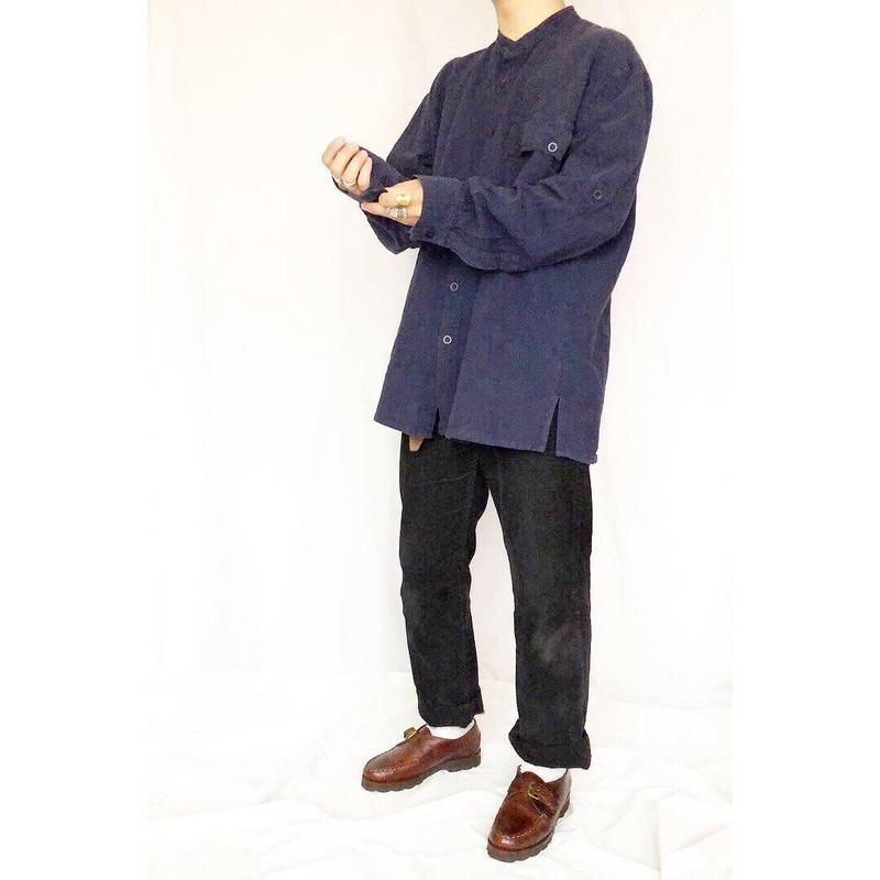 old カナダ製 ワンポケットデザイン バンドカラー 長袖シャツ / 古着 ビンテージ