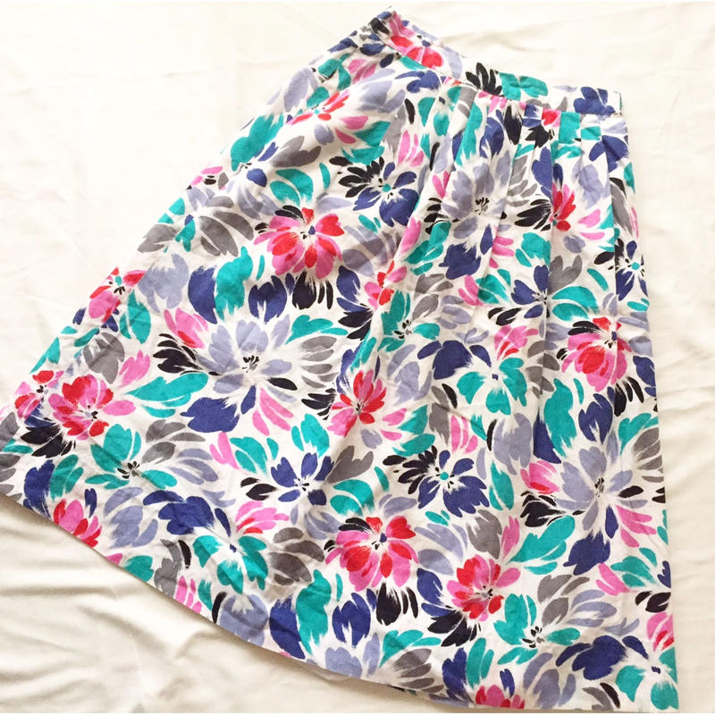 80s~ ペイント風 花柄 スカート/古着 ビンテージ