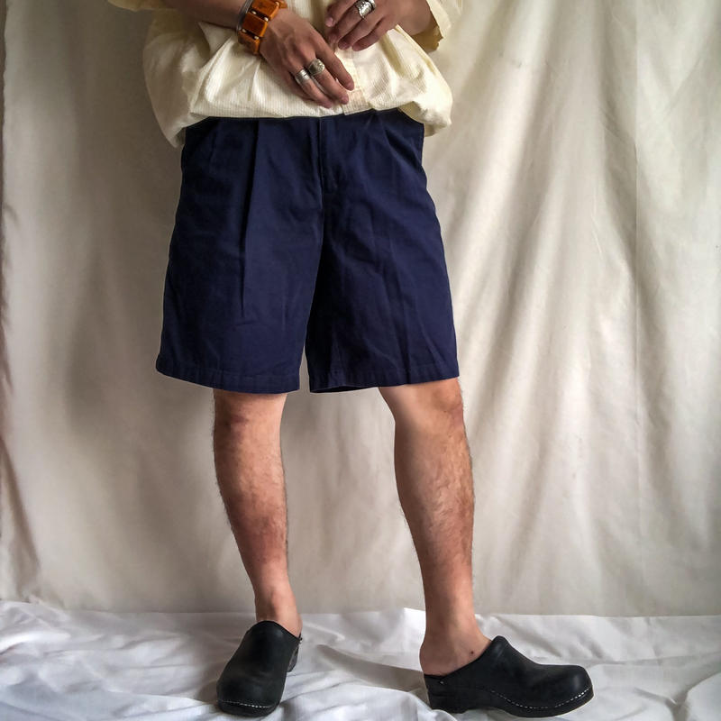 1990's~ navy two tuck cotton shorts