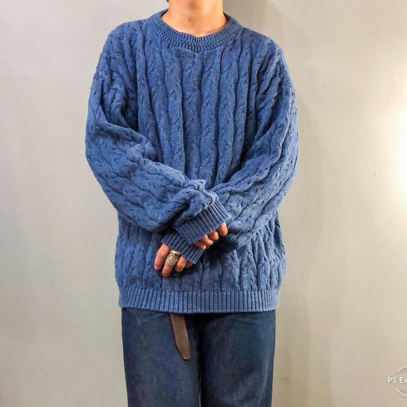 1980's~  USA製 インディゴブルー ケーブル編み セーター / 古着 ビンテージ