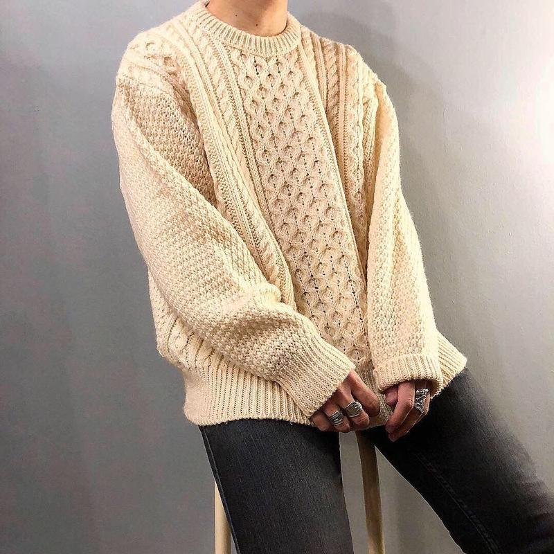 アイルランド製 ケーブル編み フィッシャーマン アランニット セーター/古着 ビンテージ