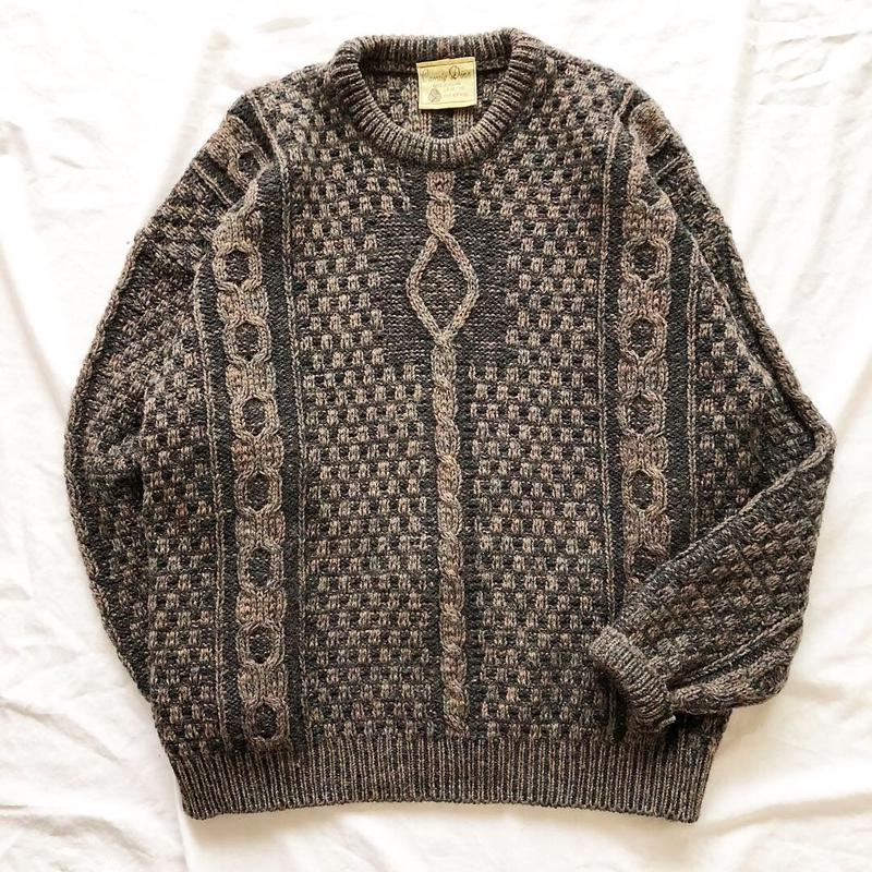 Vintage アイルランド製 フィッシャーマン セーター / 古着 ビンテージ ニット
