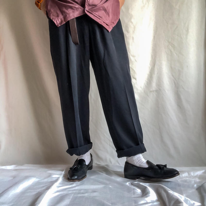 1990's~ black silk tuck slacks
