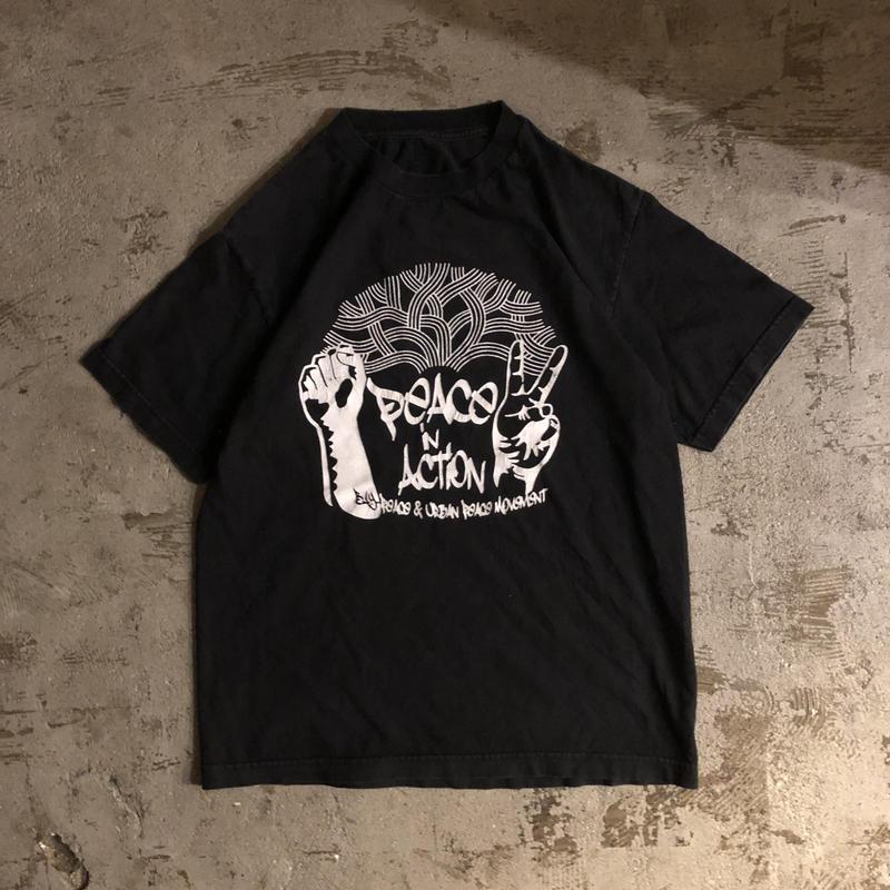 """1990's~ """"PEACE ACTION"""" プリント 半袖Tシャツ / 古着 ビンテージ"""