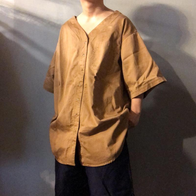 1990's~  ビッグサイズ ノーカラーシャツ / 古着 ビンテージ
