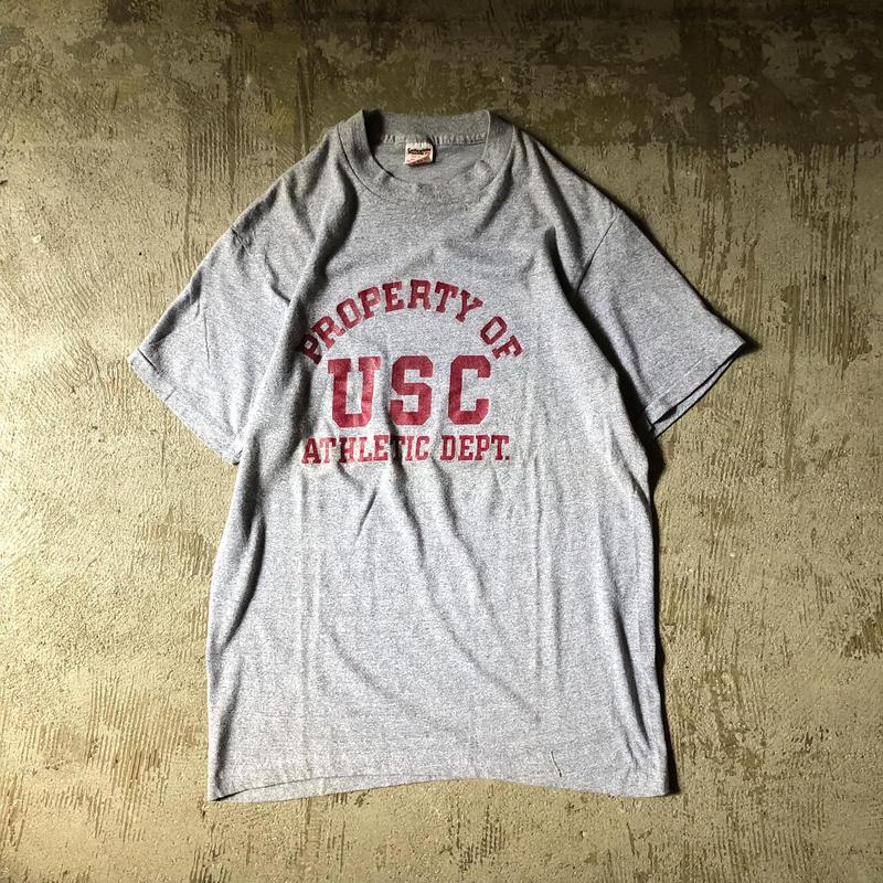 """1980's USA製 """"USC"""" カレッジ 三段プリント 霜降りグレー 半袖Tシャツ / 古着 ビンテージ"""