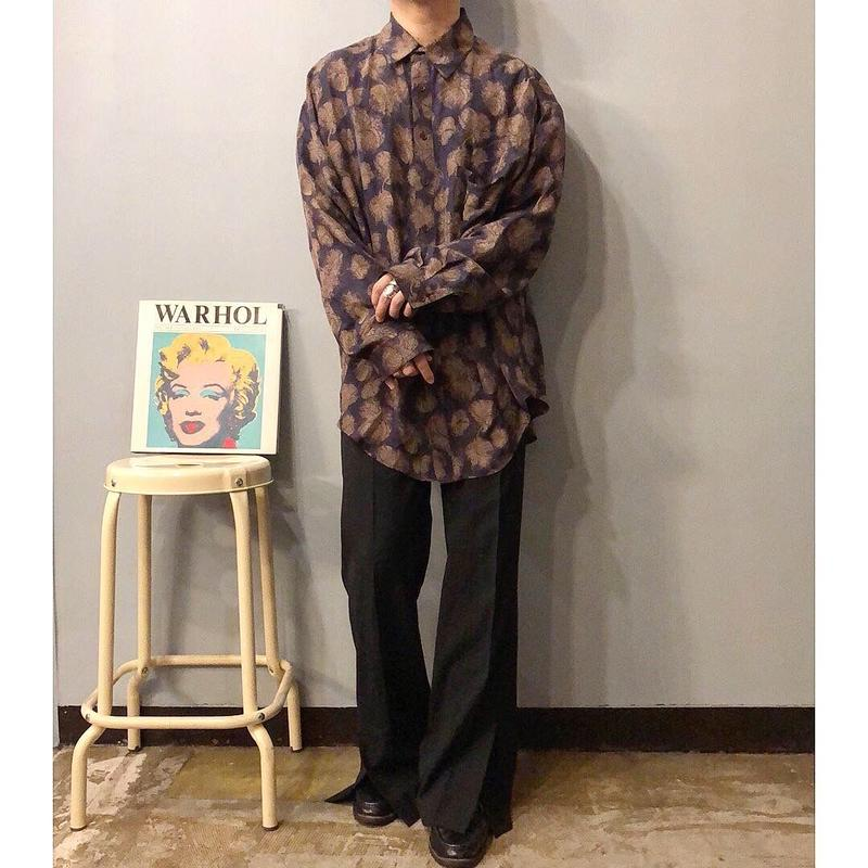 1990's~ ビッグサイズ 総柄 シルクシャツ / 古着 ビンテージ