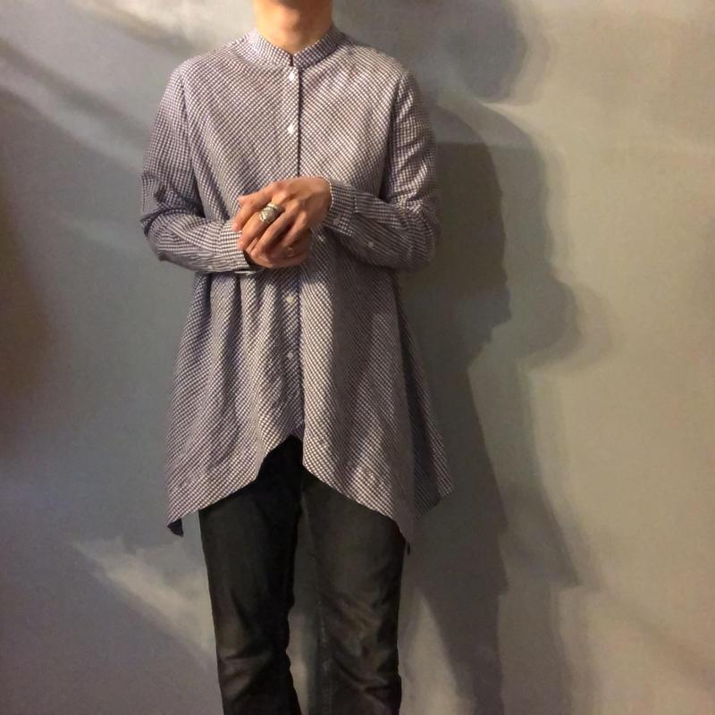 1990's~ ギンガムチェック 変形デザイン バンドカラーシャツ / 古着 ビンテージ