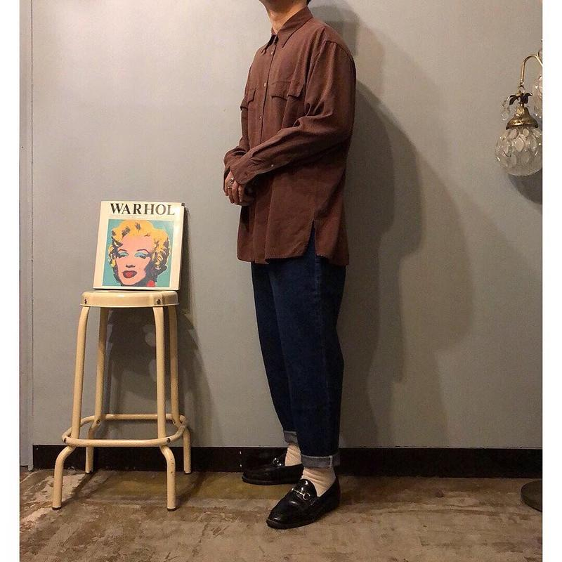 old ブラウン シルクシャツ / 古着 ビンテージ