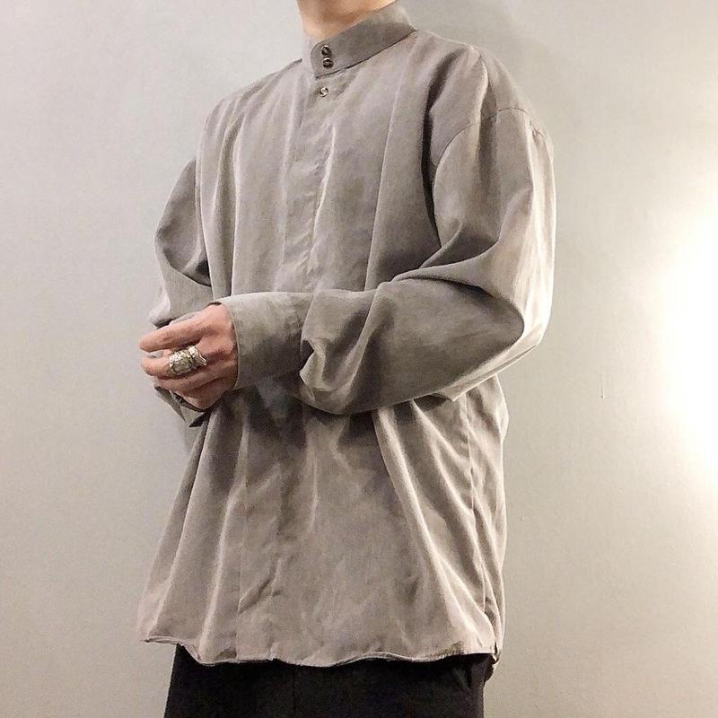 1990's~ グレー バンドカラー シャツ / 古着 ビンテージ