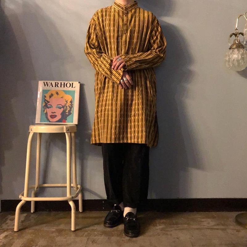 old ストライプ 総柄 バンドカラー グランパシャツ /  古着 ビンテージ