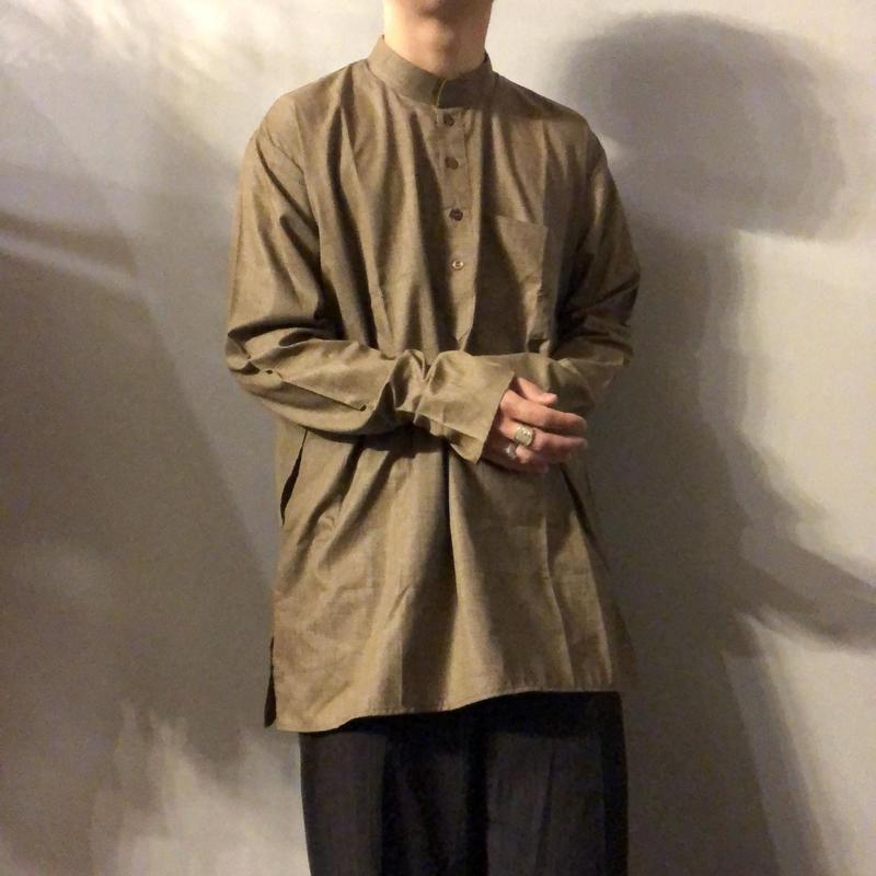 スタンドカラー かすり柄 マチ付き プルオーバーシャツ / 古着 ビンテージ