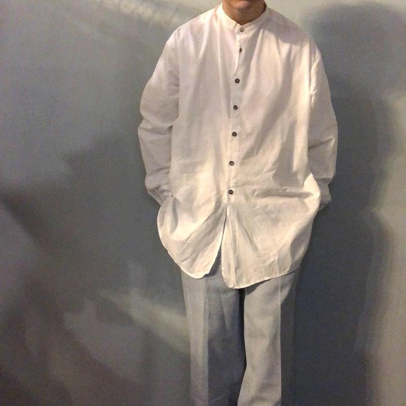 1980's~ USA製 コットン ホワイト バンドカラーシャツ / 古着 ビンテージ