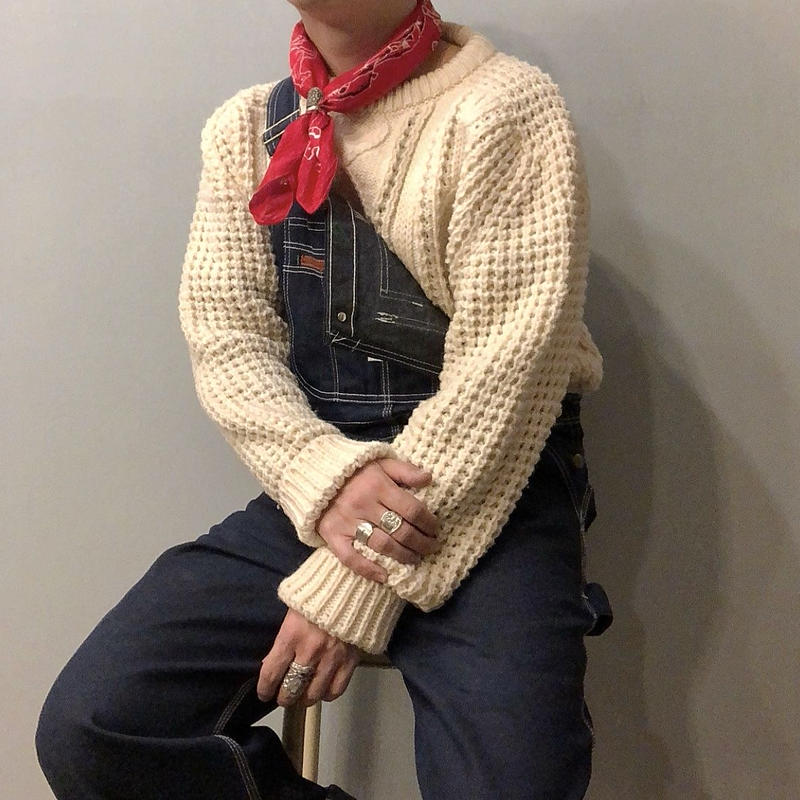Vintage アイルランド製 ケーブル編み フィッシャーマンセーター / 古着 ビンテージ アランニット