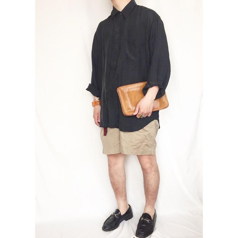 ブラックカラー 長袖 シルクシャツ / 古着 ビンテージ