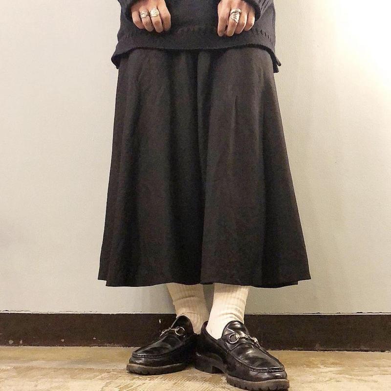 Vintage 1970's~ ブラック クロップド丈 スーパー ワイドパンツ / 古着 ビンテージ