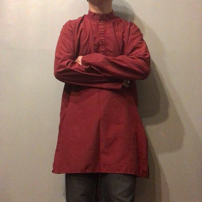 old 刺繍 バンドカラー グランパシャツ / 古着 ビンテージ