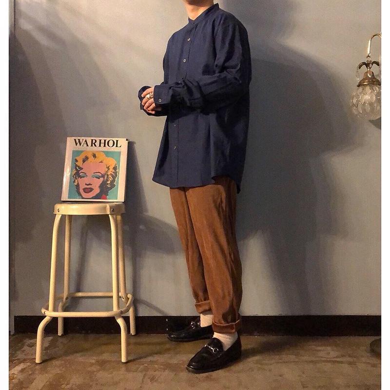 Eddie Bauer リネンコットン バンドカラーシャツ / 古着 ビンテージ