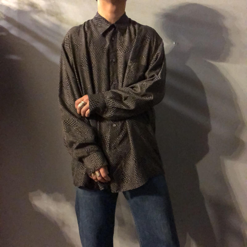 1990's~ ビッグサイズ 総柄 長袖 シルクシャツ / 古着  ビンテージ