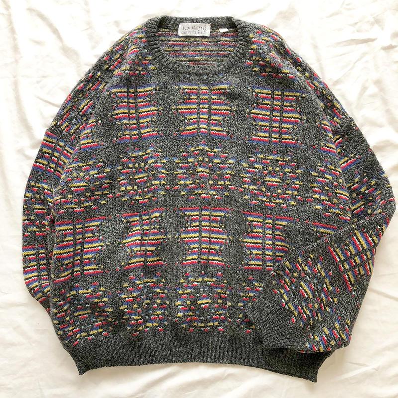 イタリア製 総柄 ウールセーター / 古着 ビンテージ ニット