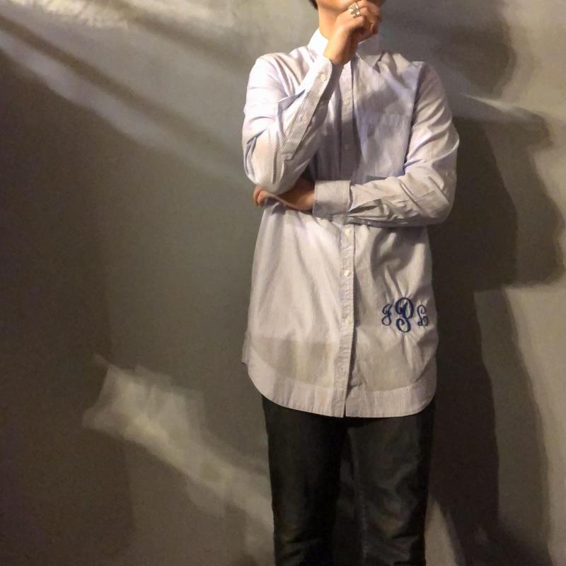 Neiman Marcus ニーマンマーカス イニシャル刺繍 ブルー ストライプシャツ / 古着 ビンテージ