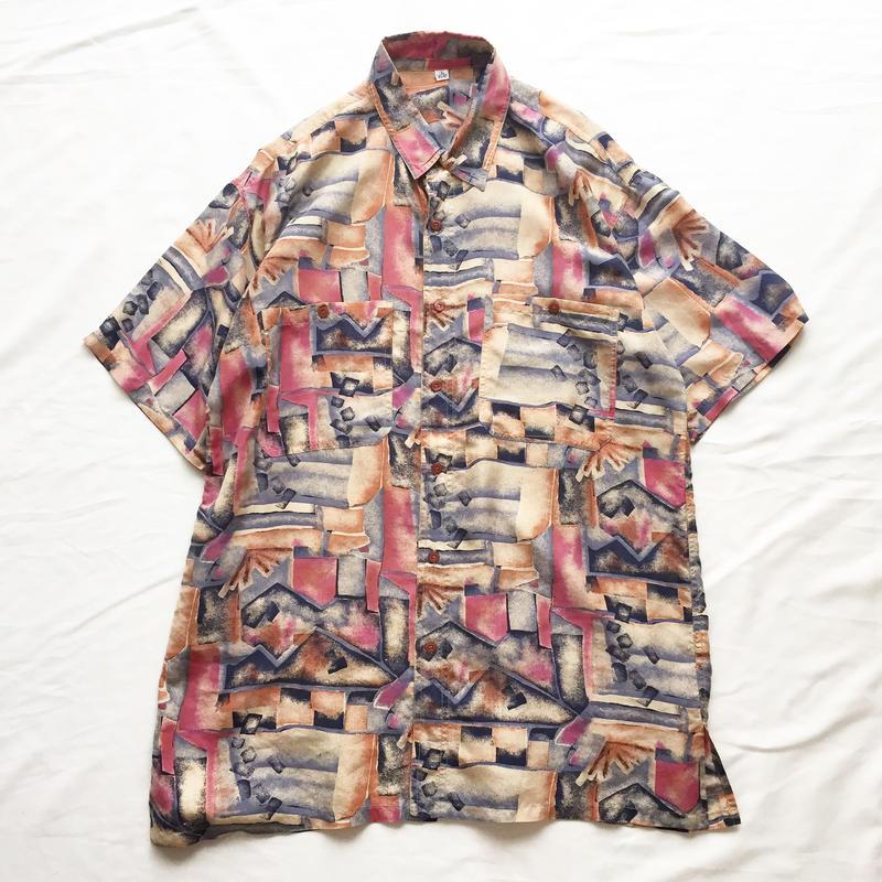 水彩画風 総柄 シルク 半袖シャツ / 古着 ビンテージ