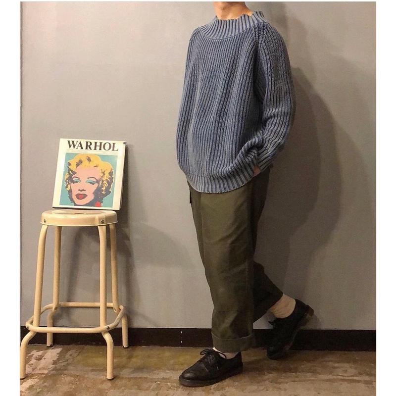 1980's~ 1990's モックネック インディゴコットン セーター / 古着 ビンテージ