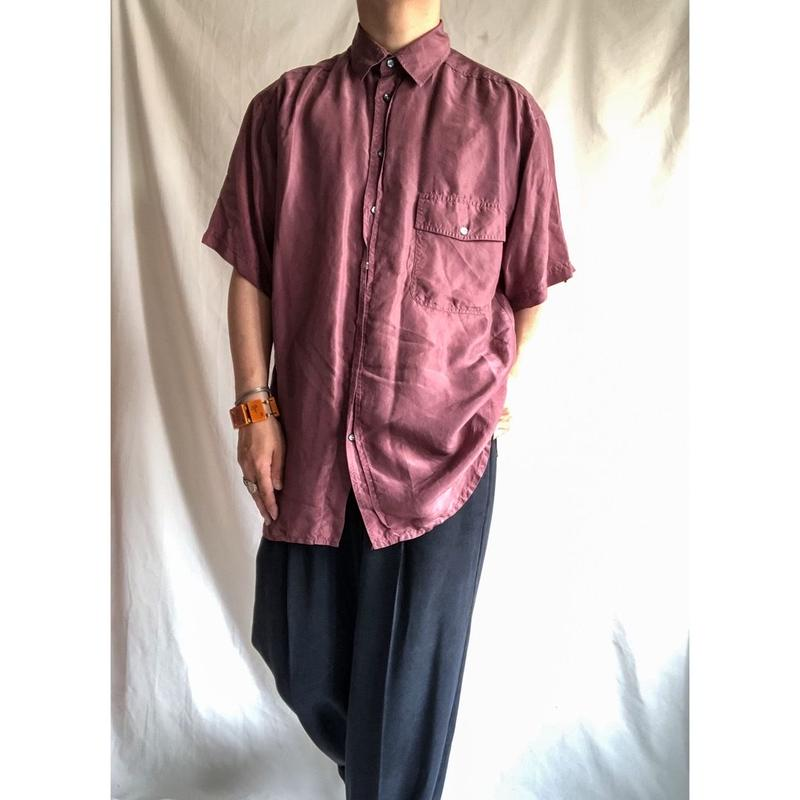 1990's~ solid color silk S/S shirt