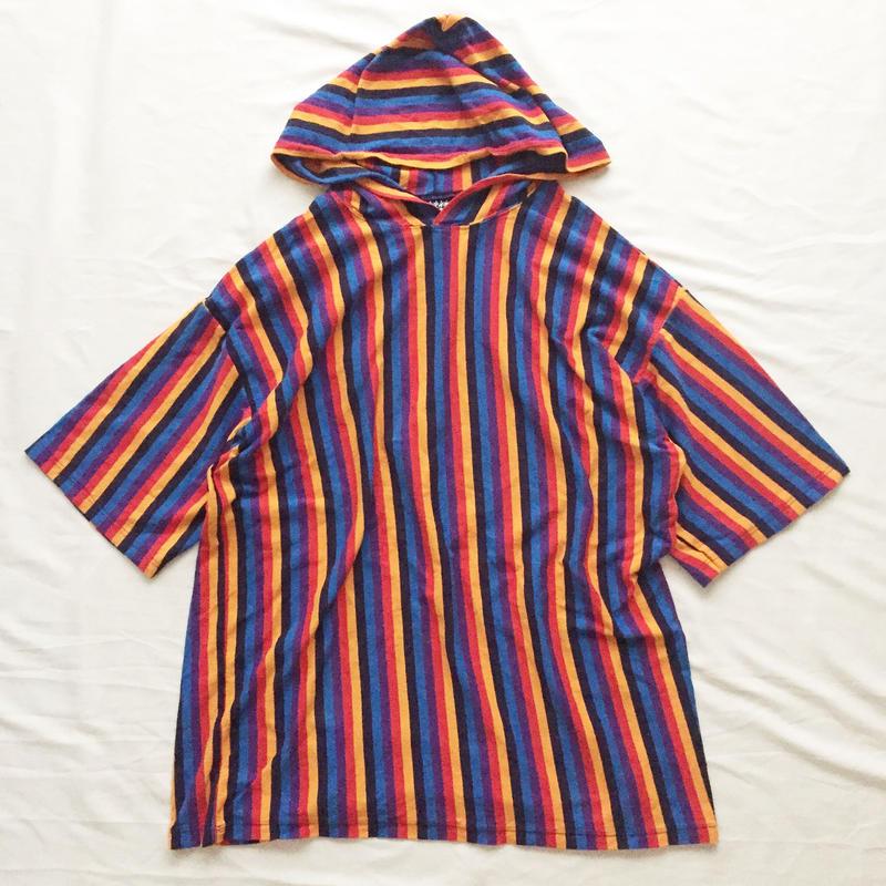 ~1990's USA製 ビックサイズ フード付き ストライプ柄 半袖Tシャツ / 古着 ビンテージ