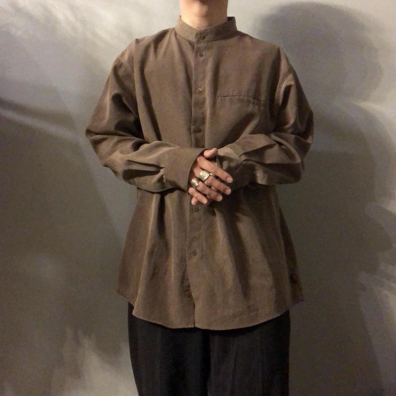 ブラウン バンドカラーシャツ / 古着 ビンテージ