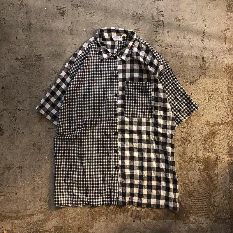 Vintage 1970's~1980's インド綿 ビッグサイズ チェック柄 クレイジーパターン 半袖シャツ / 古着 ビンテージ