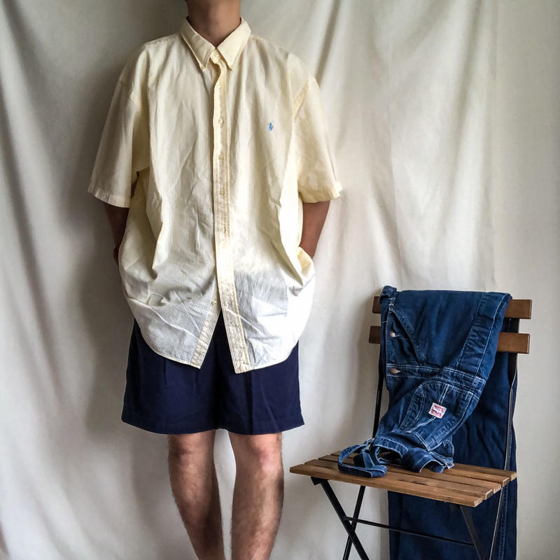 "~1990's ""Polo Ralph Lauren"" super bigsize BD lemon yellow stripe seersucker S/S shirt"