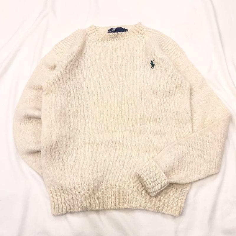 1980's~1990's Polo Ralph Lauren ポロラルフローレン シェットランドウール ワンポイント刺繍 セーター / 古着 ビンテージ
