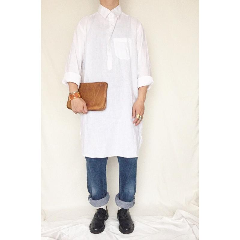 ~1980's ホワイト リネン グランパシャツ / 古着 ヴィンテージ
