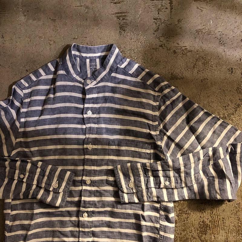 J CREW ジェイクルー リネン ボーダー柄 バンドカラー 長袖シャツ / 古着 ビンテージ