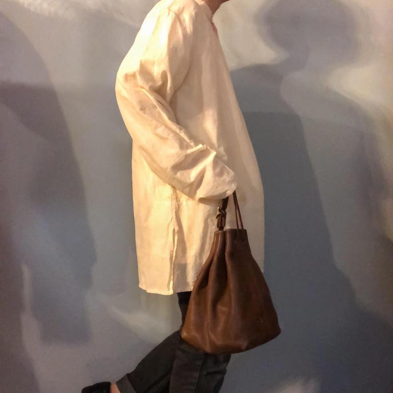 OLD COACH ブラウン 巾着 レザー ワンハンドルバッグ/古着 ビンテージ ショルダーバッグ